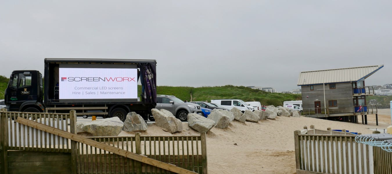 Fistral Beach LED Screen Hire with St Austell Brewery